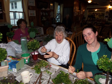 T's family and me, working on our topiaries!