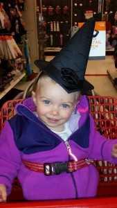 Playing with hats at Target around Halloween